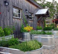 15 Unique and Beautiful Container Garden Ideas - Sanctuary Home Decor Culture D'herbes, Trough Planters, Galvanized Trough, Garden Troughs, Flower Planters, Garden Planters, Building A Raised Garden, Edible Garden, Easy Garden