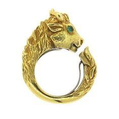 David Webb 18k Gold Emerald Bull Head Ring