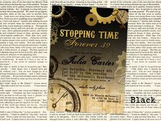 """SteamPunk Stopping Time Forever 39, 49, 59, 29, etc. Birthday Invitation - 5"""" x 7"""" JPG file for a 30th, 40th, Adult Birthday Party by ErinCrouchStudio on Etsy"""