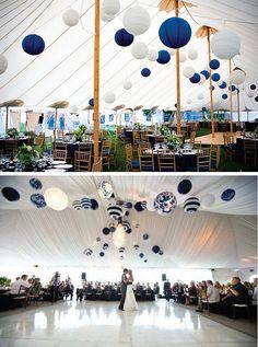 {Wedding Trends} : Hanging Wedding Decor blue and white paper lanterns Wedding Trends, Trendy Wedding, Wedding Blog, Our Wedding, Dream Wedding, Wedding Ideas, Gatsby Wedding, Wedding White, Perfect Wedding