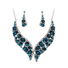 A Suit of Noble Faux Crystal Fake Collar Necklace and Earrings For Women #women, #men, #hats, #watches, #belts, #fashion, #style
