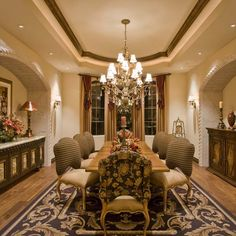 Spanish Colonial home: carved stone arched insets...