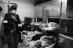 IRAN. Tehran. February 15th, 1979. The bodies of four generals, executed after a secret trial held at Ayatollah KHOMEINY's headquarters, at the Refa girls' school. Their bodies lie at the morgue. Top left General KHOSROWDAD, top right General RAHIMI, bottom left General NAJI, bottom right General NASSIRI (ex chief of the SAVAK secret police).