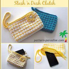 "Stash 'n Dash Clutch PDF14-147 - Free crochet pattern  by Maria Bittner. Size: about 7"" x 4 1/2"""