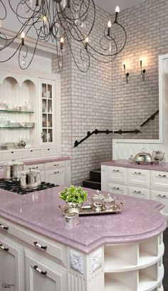 Kitchen Countertops: Brick Styled Wall Tiles With Elegant Soft Pink Countertop Using Classic White Cabinet For Nice Kitchen Ideas. Pink Kitchen Countertops For Feminine Kitchen Ideas Pink Solid Surface Countertop, Pink Soapstone Countertop, Cocina Shabby Chic, Shabby Chic Kitchen, Kitchen Decor, Kitchen Ideas, Boho Kitchen, Stylish Kitchen, Purple Kitchen, Lavender Kitchen, Pastel Kitchen