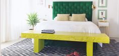 The papier mache Otomi Bench is the perfect size at the foot of a King size bed.
