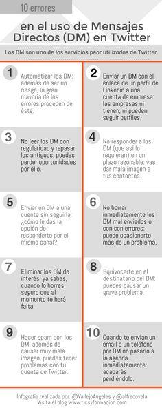 10 errores muy graves en el uso de los #infografia #socialmedia