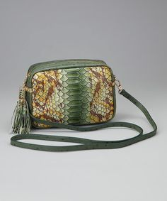 Take a look at this Green Snakeskin Boo Leather Crossbody Bag by Vintage Reign on #zulily today!