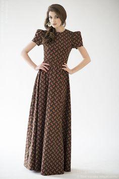 """Изображение Платье DM00146BR шоколадное длины макси с рукавом """"фонарик"""" и принтом DM00146BR"""