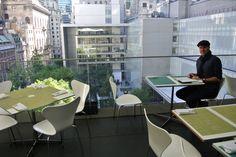 Terrace 5 - outside lunch spot with a terrace inside MOMA. New York, Arne Jacobsen, Butterfly
