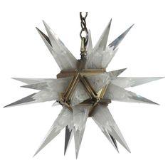 1931 C J Weinstein Art Deco Frosted Glass Starburst Chandelier