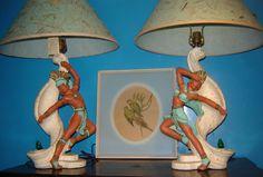 1950's Aztec chalkware lamps by Universal Statuary Company
