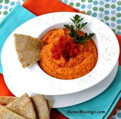 Menu Musings of a Modern American Mom: Roasted Red Pepper Hummus. ☀CQ #glutenfree #appetizers