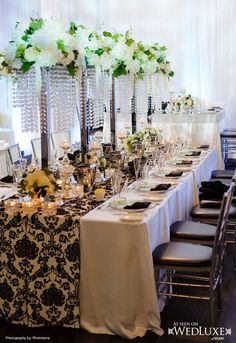White and black Wedding Reception Tablescapes