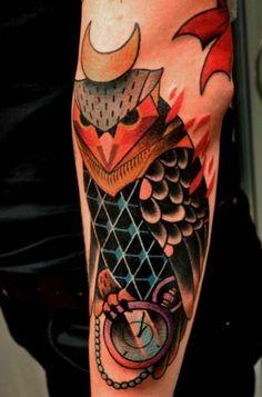 Colorful owl moon watch tattoo by MARCIN ALEKSANDER SUROWIEC