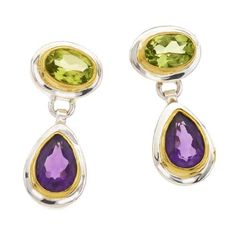 Sterling Silver, Peridot & Amethyst Earrings Available at joyfulcrown.com