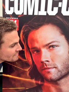 Stephen Amell With Jared Padalecki Supernatural Poster at SDCC 2013