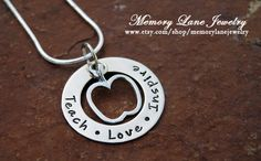 PERFECT teacher gift for the end of the year or Teacher Appreciation Day (May 7th).  Teach Love Inspire.    www.etsy.com/shop/memorylanejewelry