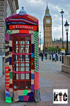 A knitted London phone booth!