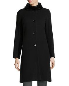 Rabbit-Collar Button-Front Jacket, Black by Cinzia Rocca at Neiman Marcus Last Call.