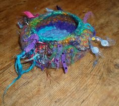 FIBRE ART FELTED Rainbow Of Love Vessel - Felt Bowl Merino & Recycled Fabrics - Rainbow Colors Freeform Crochet Wool Ooak