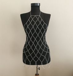 Silver Chain Dress Grid Chain Dress Bodychain Silver by MukoShop