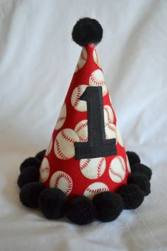 Baseball Birthday Party Hat in Red and Black