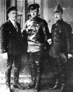 """"""" Three Red Communist """"heros"""" who conspired to establish a Bolshevik dictatorship in Russia: Sergei Kirov, Mikhail Levandovsky, and Konstantin Mekhonoshin. These men saw to the purge, torture, and death of untold thousands before they, in turn, were wiped out by Stalin. Levandovsky (center) is displaying his Masonic """"Jahbuhlun"""" hand signal. Mekhonoshin (right) wears the llluminati phyrgian cap."""""""