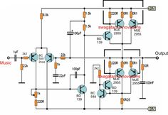 Simple 20 watt Amplifier Circuit | Electronic Circuit Projects