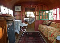 Gypsy Caravan Rental n ° at Saint Quentin La Poterie in the Gard Airstream Interior, Trailer Interior, Gypsy Caravan Interiors, Glamping, Gypsy Home, Gypsy Living, Curved Wood, Hippie Home Decor, Gypsy Decor