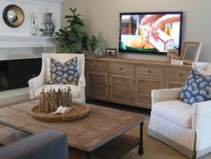 Wall mount tv over credenza - I like the styling...especially glass bottles