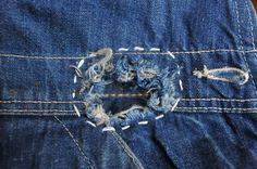 STUDIO ZERO JEANS & DENIM HERITAGE — 1940s 8 Oz denim hole repair (inside patch is...