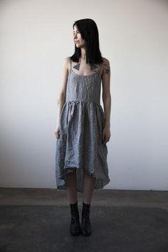 Fanny Linen Dress - Grey Stripe