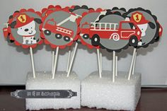 Firetruck/Dalmation Cupcake toppers by MnMScrapsbyMelissa on Etsy, $12.00