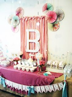 Vintage Chic dessert table, decor, and stationery/paper goods designed by My Lady Dye - Vintage Chic Birthday Party
