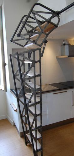 escalier mobile design Recherche Google House Ladder, Stair Ladder, Book Stairs, Attic Stairs, Porch Fireplace, House Staircase, Wood Carving Designs, Mobile Design, Tiny Living