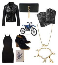 """Biker girl"" by jess559 ❤ liked on Polyvore featuring Balmain, Karl Lagerfeld, Ralph Lauren, Yves Saint Laurent, Rock 'N Rose and Yamaha"