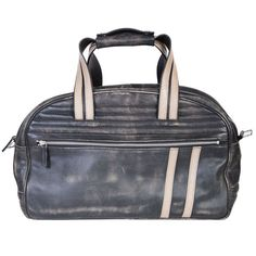 Wear your bad boy reputation on your sleeve with this sanded calfskin duffle bag inspired by the well-worn, padded look of vintage motorcycle racing jackets. Airplane Carry On, Travel Boots, Leather Suitcase, Laptop Messenger Bags, Bowling Bags, Duffel Bag, Calves, Racing Stripes