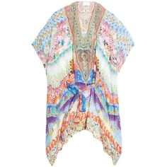 CAMILLA Belted Kaftan ($579) ❤ liked on Polyvore featuring tops, tunics, belted top, caftan tops, colorful tops, multi color tops and beach kaftan