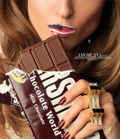 if you look past the chocolate (hard to do i know) lol her lips are the flag!!!!