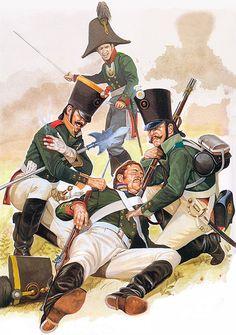 Musketeer Sgt., Ukraine Regt. (1805), Private, Semenovski Lifeguard (1805), Musketeer, Rostov Regt. (1805), Musketeer officer, Lithuania Regt. (1805)