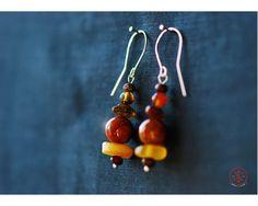 Onyx (Pakistani) earrings with amber Pakistani, Amber, Drop Earrings, Handmade, Jewelry, Hand Made, Jewlery, Bijoux, Schmuck