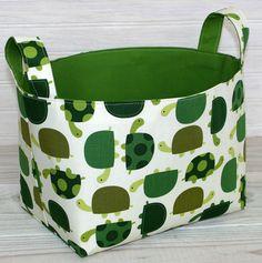 Storage Basket Fabric Bin Organizer Container - Turtles