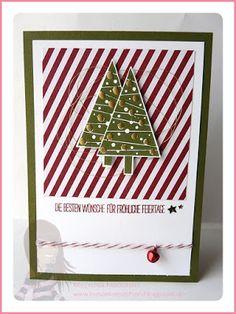 Stampin' Up! Rosa Mädchen Weihnachtskarte mit Tannenbaum und dem Set Christbaumfestival