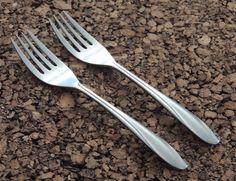 "Dixon Deluxe Forks 2 Salad Swirl Curve Stainless Flatware Silverware Japan 6.5"" #DixonDeluxe"