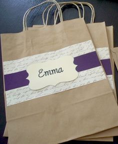 2 Large Bridesmaid Gift Bags - 8x10 Personalized You pick the color. $7.90, via Etsy.