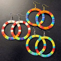 Beautiful Quillwork Hoops by Lonna Jackson (Spirit Lake Dakota / Turtle Mountain Chippewa) - Beyond Buckskin Boutique