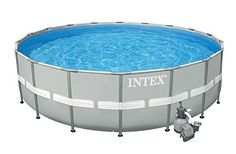 "Intex 20' x 52"" Ultra Frame Above Ground Swimming Pool Set with Sand Filter Pump > Perfect mix of strength and value Soft gray laminated pool liner, brilliant white copings and blue tile print interior creates a luxurious appearance Layout pool liner on level ground, assemble the frame and fill with water Check more at http://farmgardensuperstore.com/product/intex-20-x-52-ultra-frame-above-ground-swimming-pool-set-with-sand-filter-pump/"