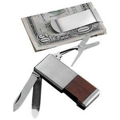 """For the Guys; Money clip and knife, which is a Kershaw (Worldwide reputation for quality and innovation)  The blade honed to precision to be sharpest knife out of the box. Material: high carbon AUS6A stainless steel. Handle features a rosewood inlay and satin-finished bolster. Includes knife blade, nail file, scissors and money clip. Blade length: 1.63"""". Warranty: Lifetime."""
