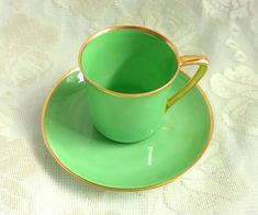 Vintage RS Germany Green Porcelain Demitasse Chocolate Coffee Cup Royal Silesia